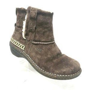 UGG Cove Brown Suede Shearling Ankle Boots